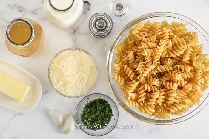 Ingredients assembled to make creamy garlic pasta