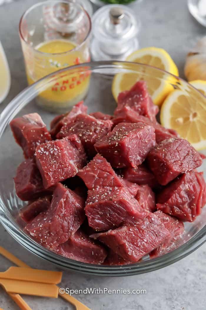 raw steak cut into cubes