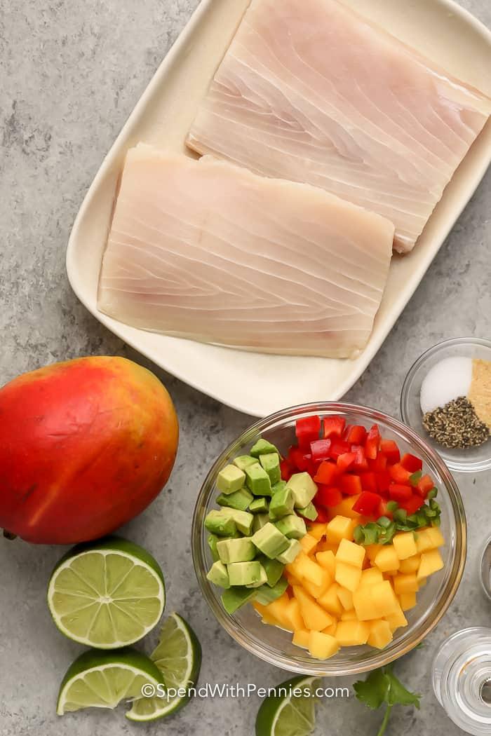 Ingredients assembled to make Grilled Mahi Mahi