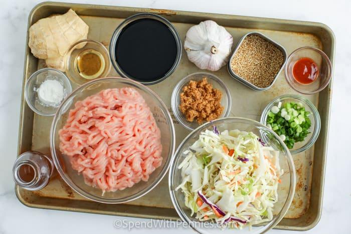 ingredients to make Sesame Ground Turkey Bowls