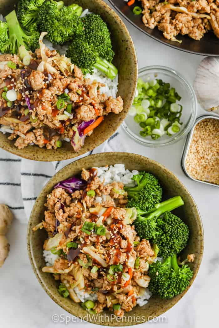 top view of plated Sesame Ground Turkey Bowls