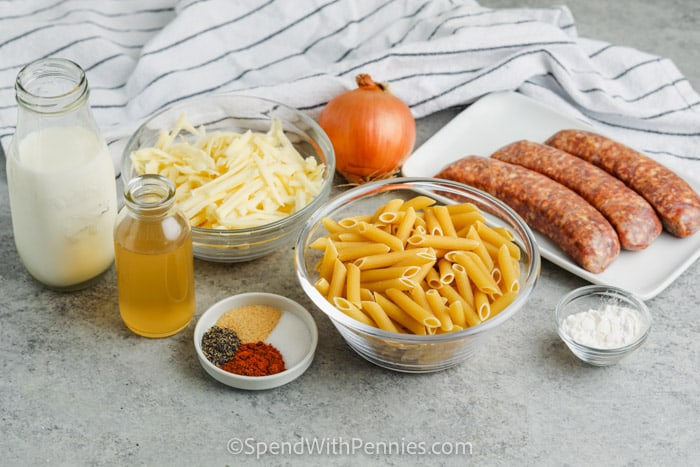 ingredients to make Stove Top 3 Cheese Pasta with Sausage