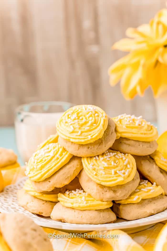 pile of lemon cookies on a plate