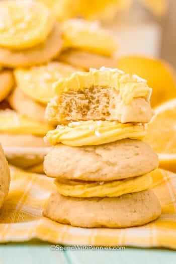 stack of lemon cookies with icing