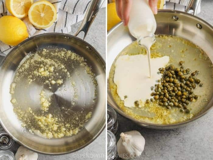 process of making sauce for 20 Minute Lemon Pasta