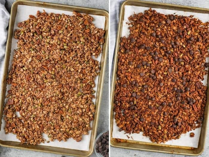 Chocolate Granola on a baking sheet before and after cooked