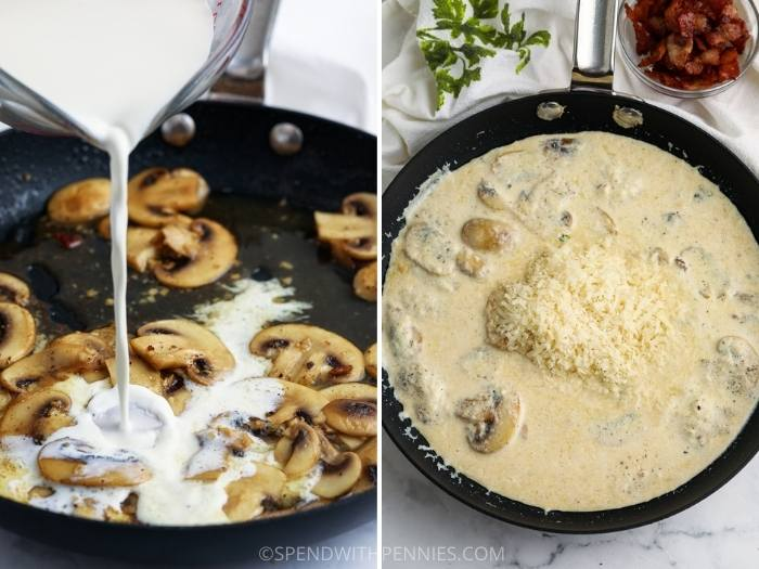 process of adding ingredients to pot to make Creamy Mushroom Pasta with Bacon