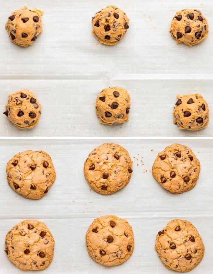 Chewy Chocolate Chip Cookies rolled and cooked on a baking sheet