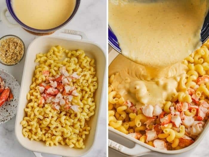 process of adding lobster and cheese to make Lobster Mac and Cheese