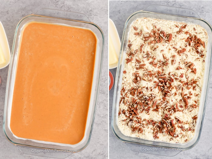 process of adding topping for Pumpkin Crunch Cake