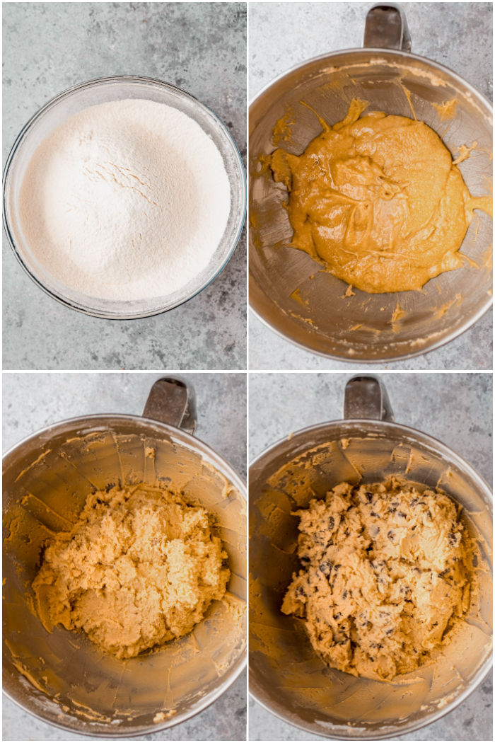 process of adding ingredients to bowl to make Chocolate Chip Cookies