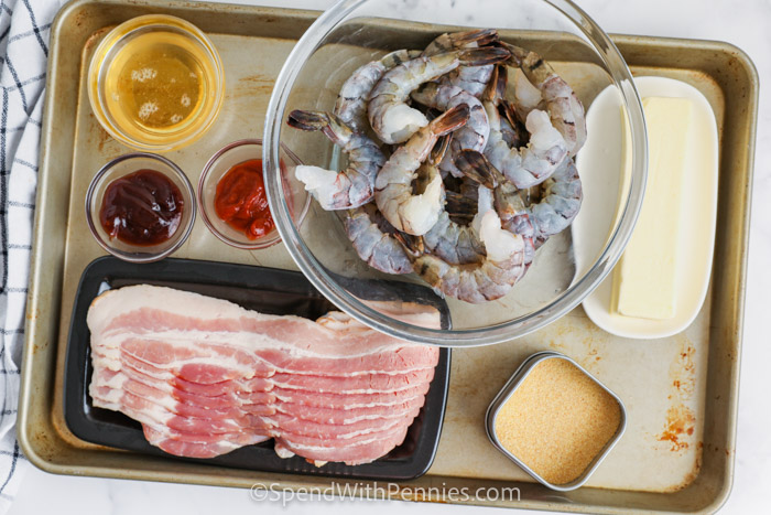 ingredients to make Bacon Wrapped Shrimp