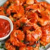 plate full of Bacon Wrapped Shrimp