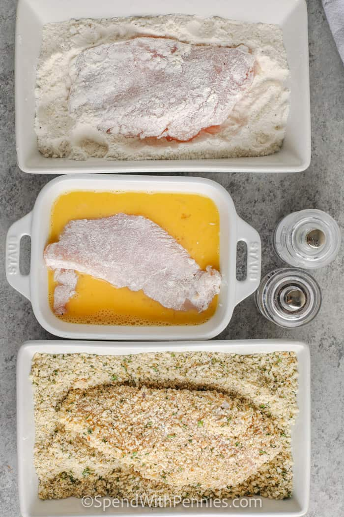 coating chicken to make Breaded Baked Chicken