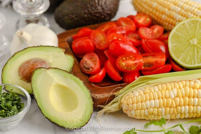 Avocado Corn Salad ingredients.