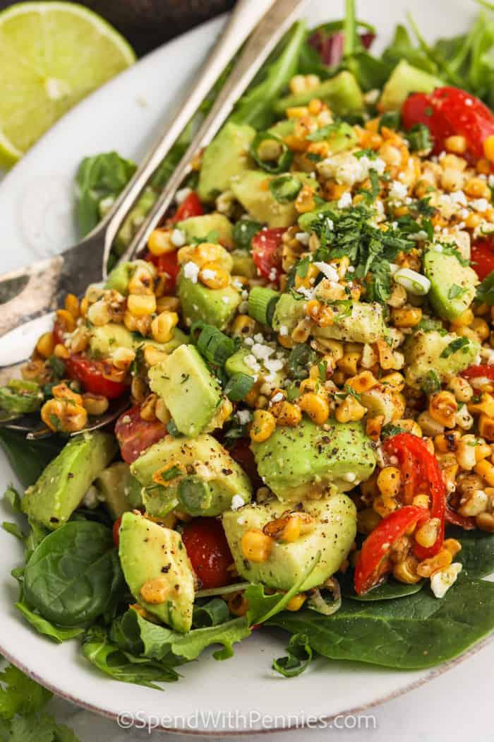 Corn and Avocado Salad plated.