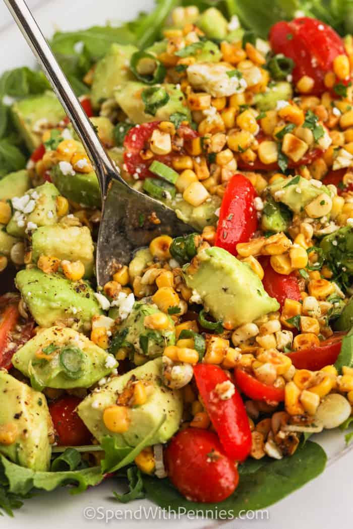 Avocado Corn Salad being served