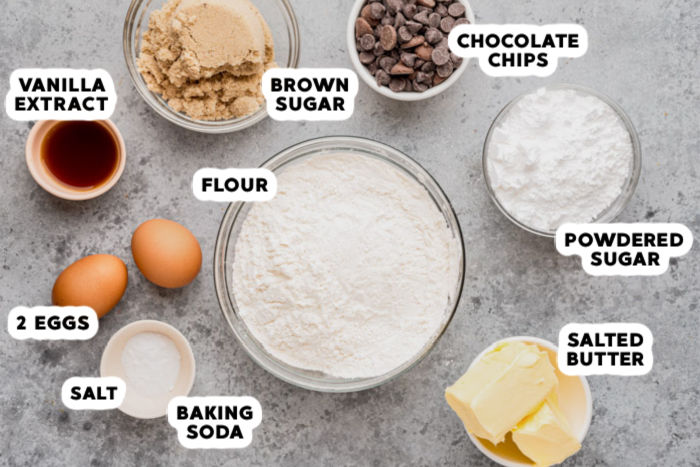 ingredients to make Disney Chocolate Chip Cookies with labels
