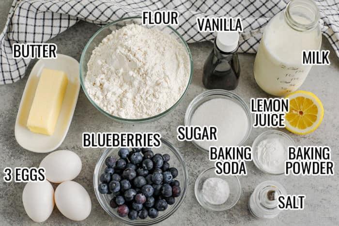 ingredients to make Sheet Pan Pancakes with writing
