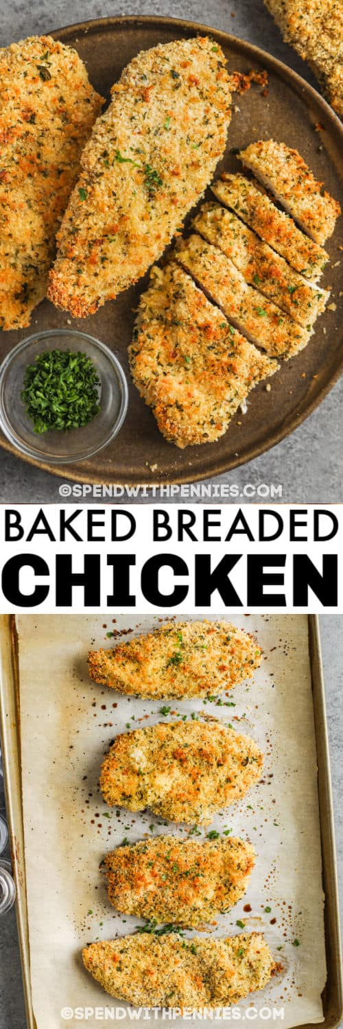 Breaded Baked Chicken on the baking sheet and plated with a title