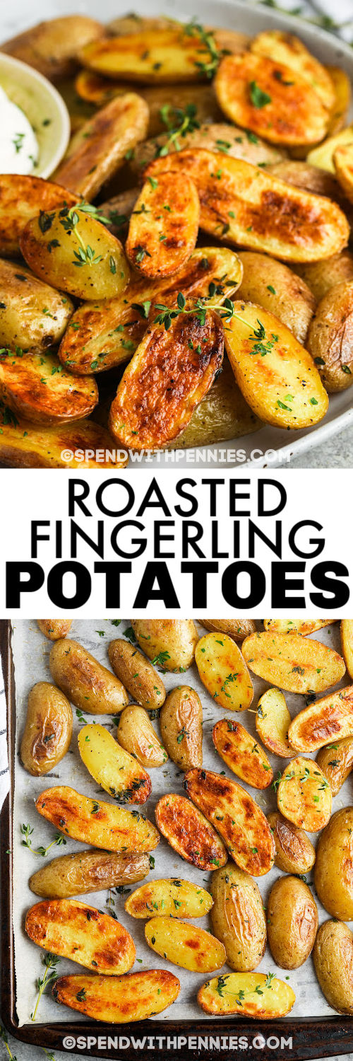 baked Roasted Fingerling Potatoes on a baking sheet and plated with writing