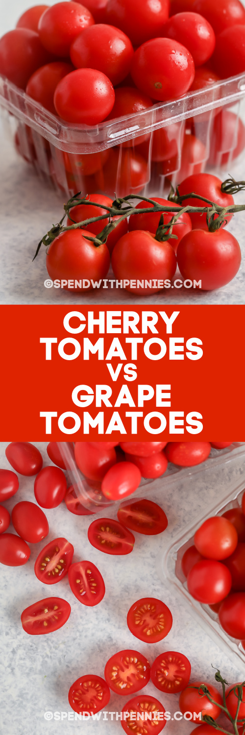 Cherry Tomatoes and Grape Tomatoes whole and sliced with text