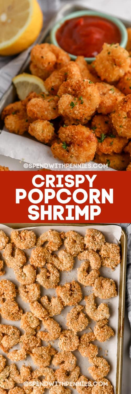 Crispy Popcorn Shrimp and battered shrimp on pan with text