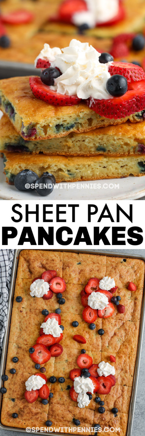 Sheet Pan Pancakes cooked in the baking sheet and plated with a title