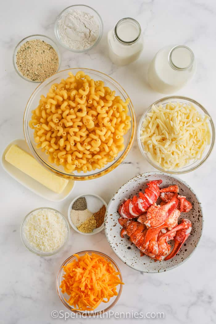 ingredients in bowls to make Lobster Mac and Cheese