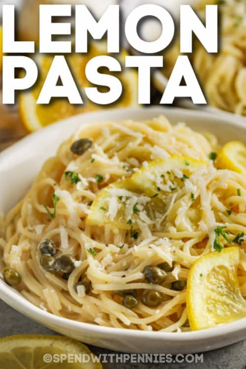20 Minute Lemon Pasta with peas and writing