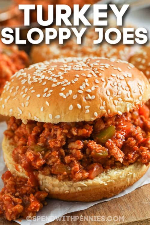 Turkey Sloppy Joes on a platter with a title