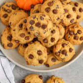 top view of Pumpkin Chocolate Chip Cookies on a plate