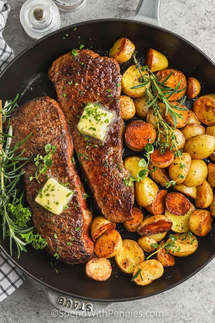 top view of Rosemary Garlic Steak & Potatoes