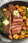 Rosemary Garlic Steak & Potatoes in a pan