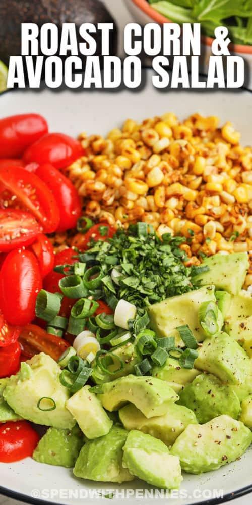 Avocado Corn Salad Ingredients with text.