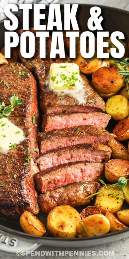 Rosemary Garlic Steak & Potatoes in a pan with text