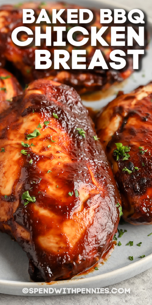 Baked BBQ Chicken breasts with parsley with text