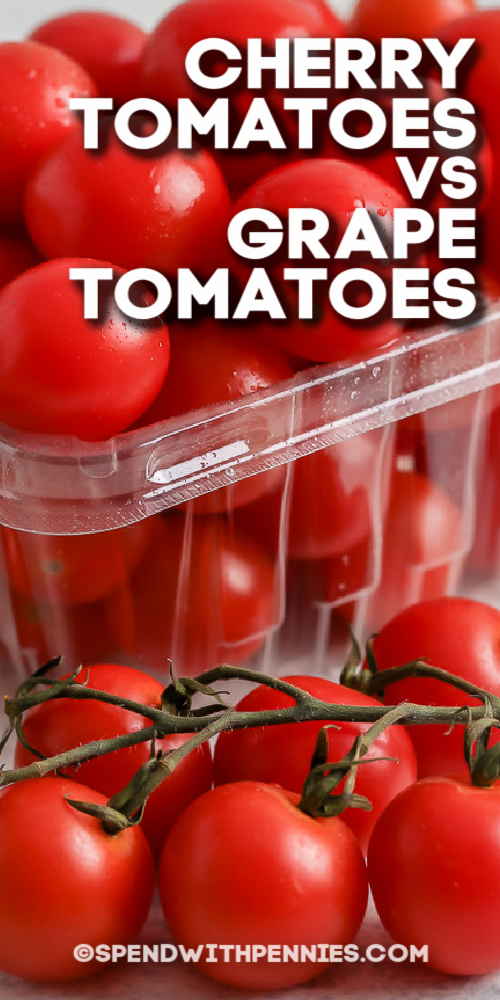 close up of Cherry Tomatoes and Grape Tomatoes with text