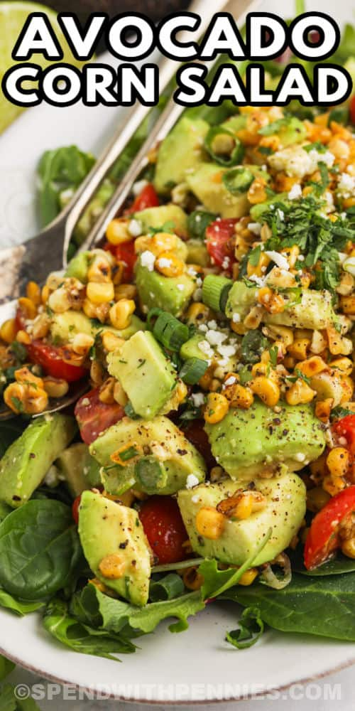 A serving dish of avocado corn salad with text.