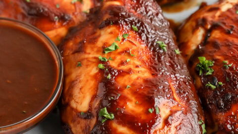 Baked BBQ Chicken breast on a plate