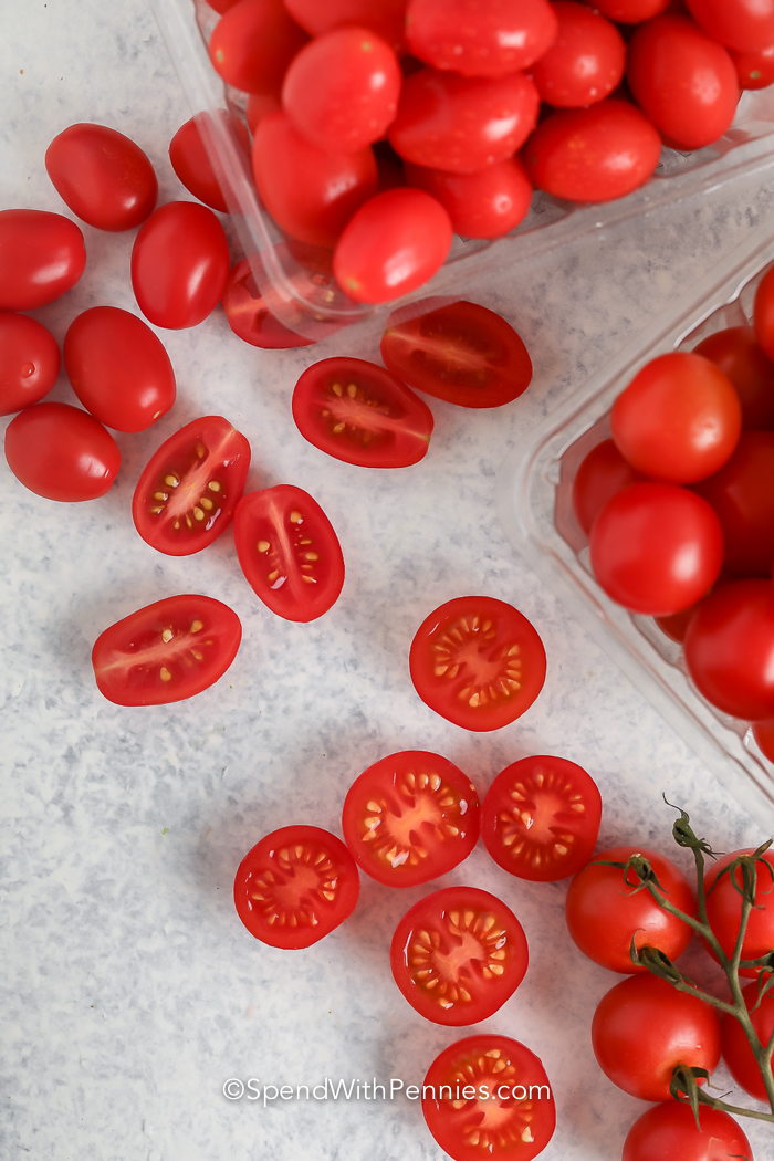 top view of sliced Cherry Tomatoes and Grape Tomatoes