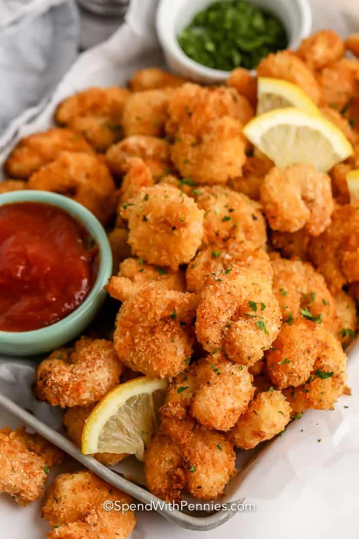Crispy Popcorn Shrimp on a tray