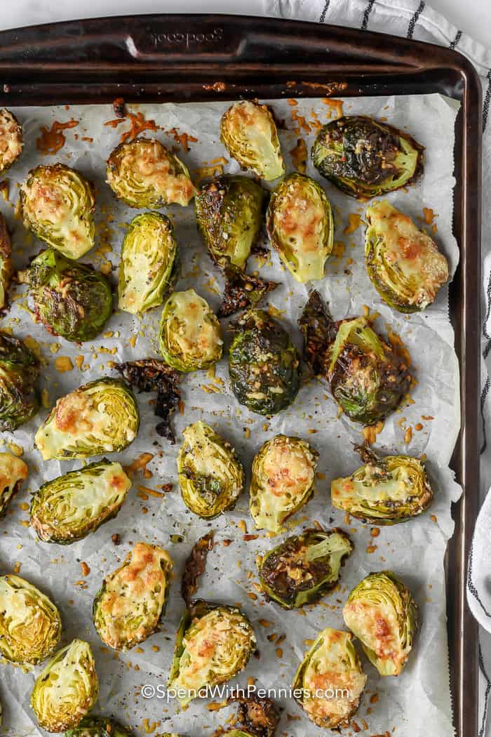 Parmesan Brussel Sprouts on a pan