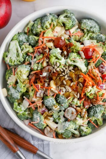 top view of Broccoli Salad in a bowl