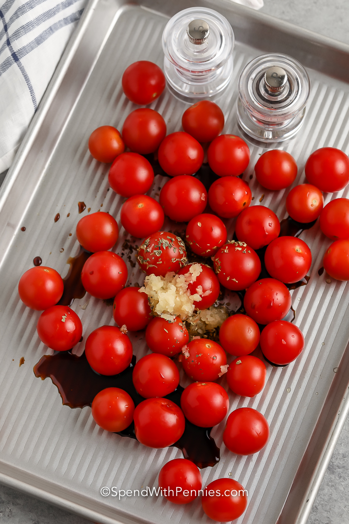 cherry tomatoes on a pan