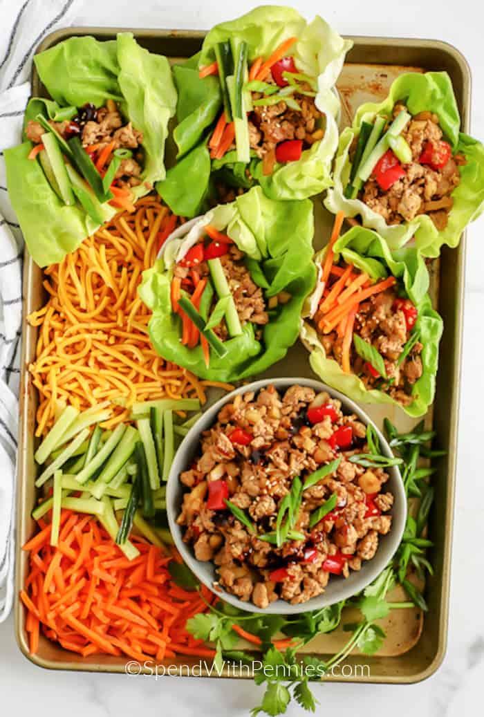 turkey lettuce wraps on a tray