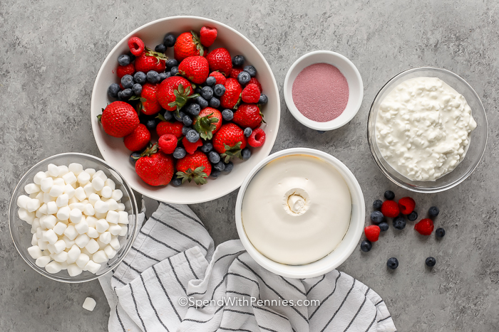 ingredients assembled to make Berry Fluff Jello Salad