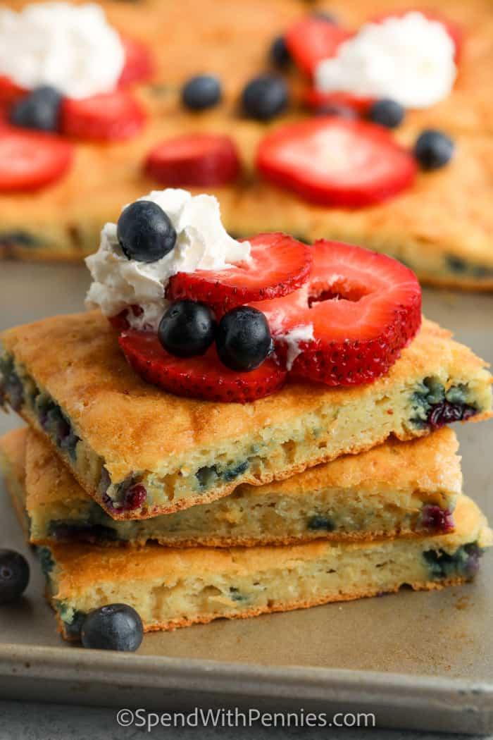 Sheet Pan Pancakes in a stack on a baking sheet