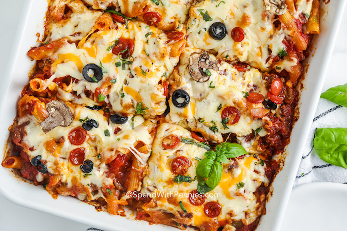 top view of sliced Supreme Pizza Casserole in the dish