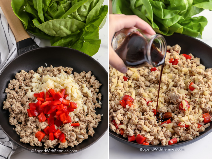 process of mixing ground turkey, red peppers, and onions in a pan